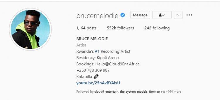 Bruce Melodie Yujuje ibihumbi 552 ku rubuga rwa Instagram (Instagram Photo)